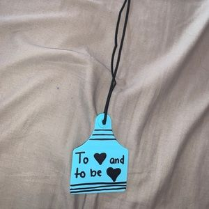 """""""To LOVE and be LOVED"""" mirror dangle in blue"""